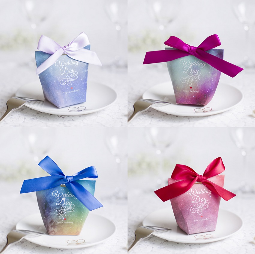 50 Pcs Purple Blue Rose Starry Sky Wedding Favors Candy Boxes Sachet Bomboniera Party Gift Box Giveaways Box Paper Gift Bags(China)