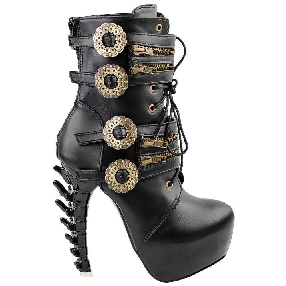 LF80651 Punk Design Zipper Womens High-top Bone High Heel Platform Ankle Boots Black<br>