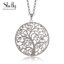 Hot Fashion Tree Of Life Pendant Necklace For Women Wedding Jewelry Silver Color Crystal Long Chain Necklaces&Pendants Dropship