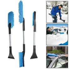Auto Ice Snow Defrost Brush 3 in 1 Vehicle Window Cleaner Long Handle Car Wash Brush Dust Cleaning Tool Car Equipment Emergency