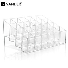 24 Frame Transparent Lipstick Display Mascara Cosmetic Storage Box Case Makeup Jewelry Organizer Makeup Storage Stand Holder(China)