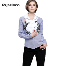 Ryseleco Brand New European Fashion Elegant Cartoon Horse Floral Embroidery Appliques Panels Vertical Strip Casual Blouse Shirt(China)