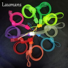 Laumans 5pcs 38cm Colorful Luminous Lanyards Long design buckle PVC rope mobile phone strap for phones MP4 ID card Random color(China)