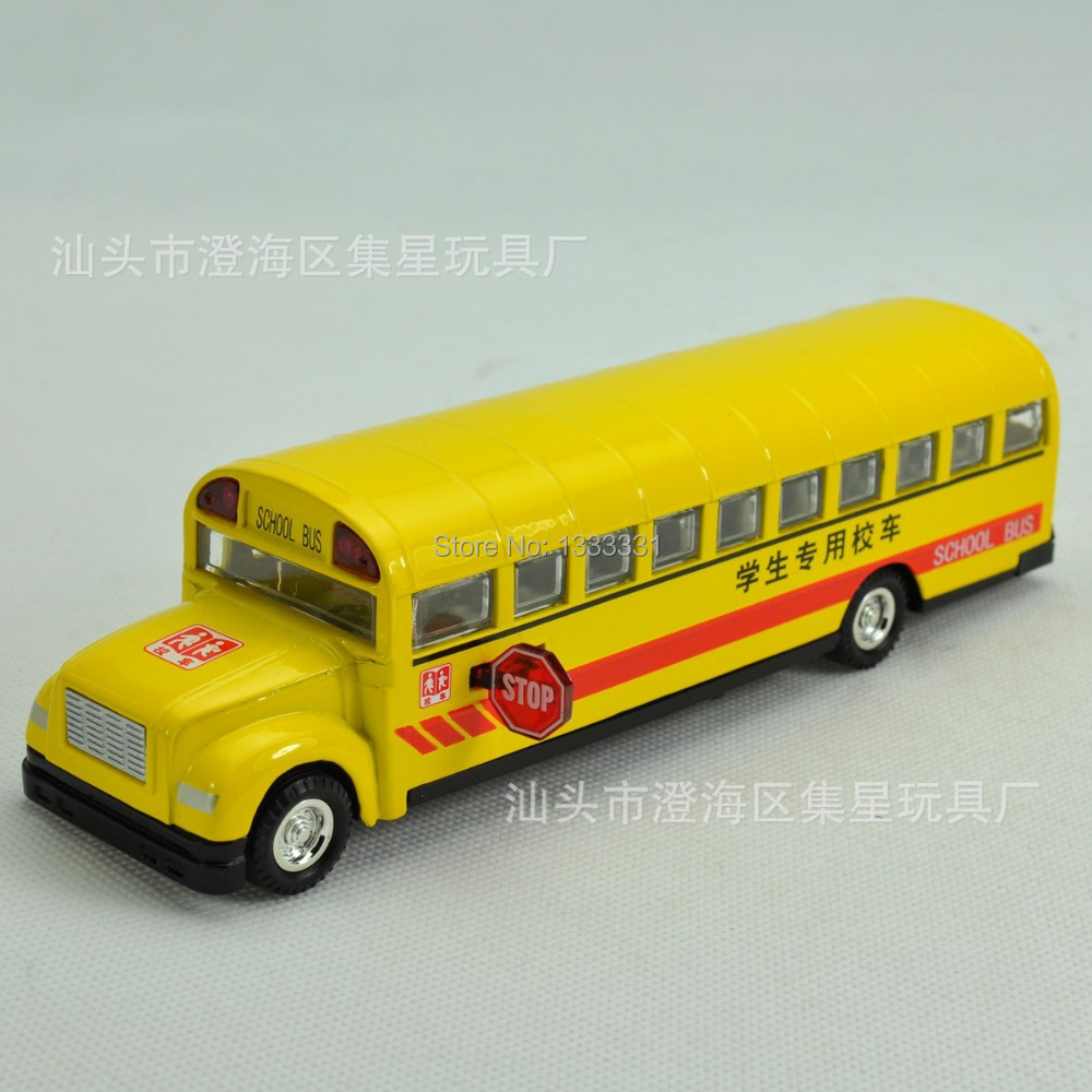 Free shipping caibo school bus 1:32 Pull Back Acousto-optic Children Toys Alloy Cars Model Wholesale children toy cars(China (Mainland))