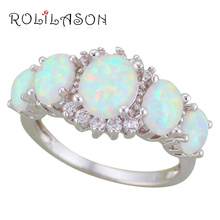 ROLILASON Vintage Jewelry White Fire Opal 925 Silver White Zircon Fashion Jewelry Ring for Ladies USA size #6#7#8#9 OR887