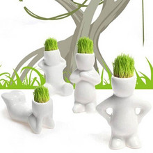 Figurine DIY White Man Magic grass planting Creative Gift Hair man Office Mini Plant Fantastic Home Decor Decoration Crafts kids