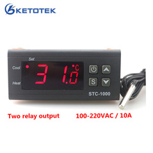 Ketotek Two Relay Output LED Digital Temperature Controller Thermostat Incubator STC-1000 110V 220V 12V 24V 10A Heat Cool(China)