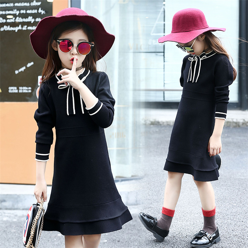 Classic Spring Sweater Dress for girl 2017 Trendy Kids Knitted Dress Design Collar Lace Up Little Princess Dress For Girl<br>
