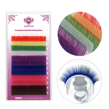 Abonnie 12rows/tray, 8 Colors ,Rainbow Colored Eyelash Extension ,Faux Mink color eyelashes,colorful cilia eyelash extension(China)