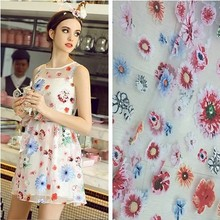 Cartoon design oganza flower embroidery lace fabric for Wedding Dress Tulle Skirt Material fabrics for patchwork