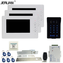 JERUAN Luxury 7`` video door phone intercom system Kit 3 monitor RFID waterproof Touch Key password keypad Camera Remote Control
