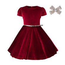 Everweekend Kids Girls Princess Ruffles Velvet Party Dress Vintage Red  Burgundy Color Cute Children Spring Autumn a73ccb159991