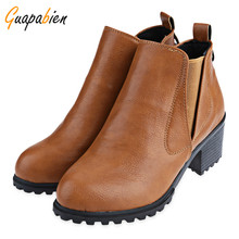 Guapabien Black Brown Gray Ankle Women Boots Spring Winter Platform Slip On Short Tube Thick Heel Boots Retro PU Leather Shoes