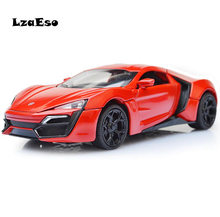 Best Sale 1:32 Fast & Furious Lykan Alloy Diecast Car Model Pull Back Toy Cars Electronic Car with light&sound Kids Toys(China)