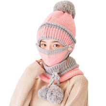 New 2017 Winter Warm Women Knitted Scarf and Hat Set Women Neckerchief Fur Ball Snowflake Thick Female Gorro(China)