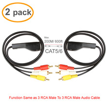 200M 3RCA Extender 2 Pack 3 RCA to RJ45 Balun Component Video and Audio Extender Over Cat5/6 Up to 600ft/200M