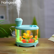 Homgeek 460ml Fish Tank USB Humidifiers LED Light Air Ultrasonic Humidifier Essential Oil Aroma Diffuser Mist Maker For Home