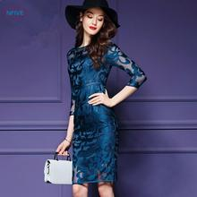 NFIVE Brand 2017 New Women Three Quarter Sleeve Hollow O-neck Sexy Dress Large Size Plus 4xl Jacobs Women's Summer Dresses(China)