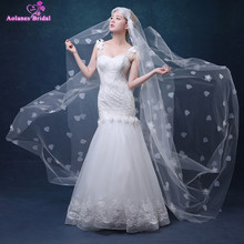 White Ivory 3 Meters Long Cathedral Bridal Veils Tulle Appliques 3D Flowers Wedding Veils Wedding Accessories 2017(China)