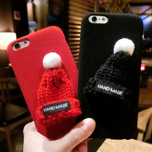 3D Christmas Santa Claus Cute Red Hat Decor Case For iPhone 6 6s Plus 6plus 7 7Plus 5.5inch Back Cover Polish Soft Phone Cases