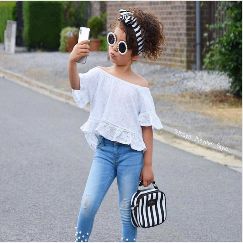 white off shoulder lace tops+hole jeans Pearl fashion 2019 summer outfits kid girls clothes children toddler girl clothing set
