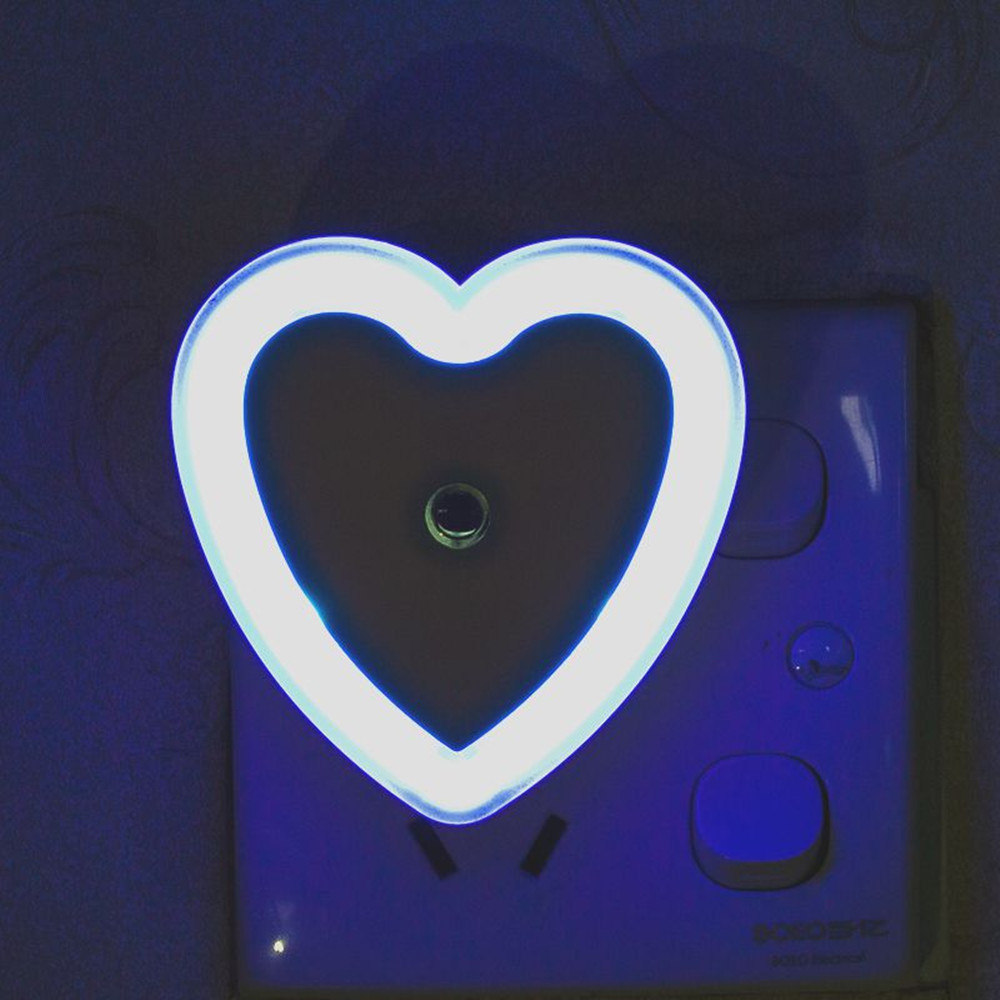 SuperNight Heart AC LED Night Light Intelligent Light Control Sensor Corridor Stairs Bedroom Bedside Toilet Home Decor Wall Lamp (9)