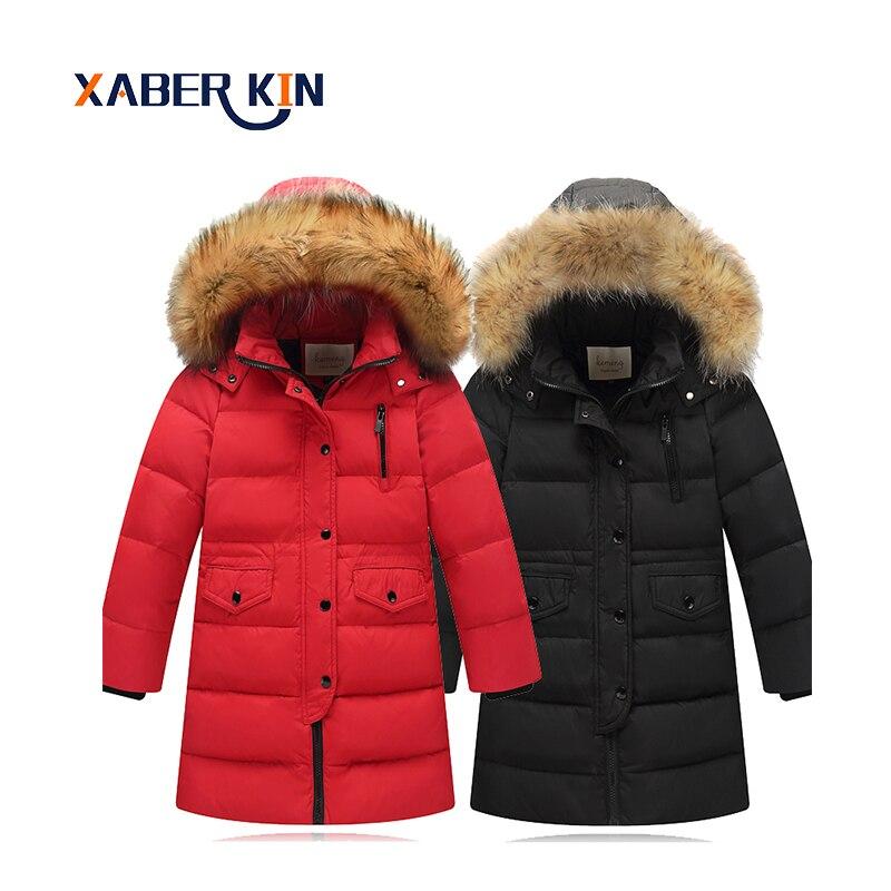 Xaber Kin 2017 Jackets For Girls Thicken White Duck Down Parkas Winter Jacket For Children Clothing Down Jacket For GirlsÎäåæäà è àêñåññóàðû<br><br>