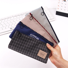 2PCS Stripes Pencil Bag Zipper Stationery Storage Bags Pencil Pouch Office Stationery Canvas Pencil Case(China)