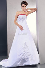 2016 latest design wedding dress sweetheart neck embroidery back with Chinese red silk decorations Appliques Bridal Gowns