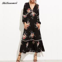 Buy Floral Beach Maxi Dresses 2017 New sexy hollowBeach deep v vintage bohemian dress causal summer Boho maxi long dresses vestido for $16.50 in AliExpress store