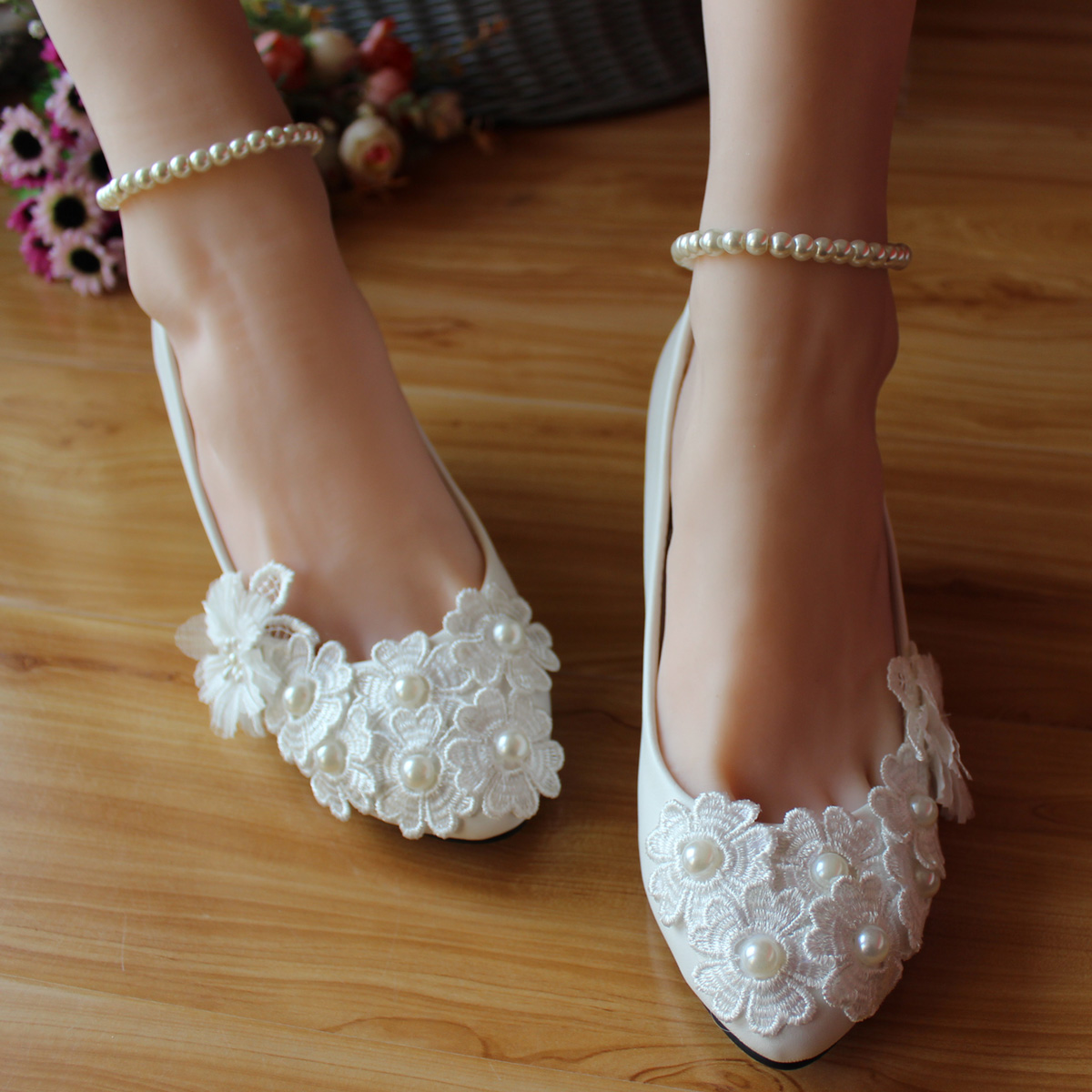 Pearls bandage dress the bride wedding shoes handmade lace flower bridesmaid thin heels shoes<br><br>Aliexpress