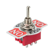 1pc Red Mini E-TEN 303 9-Pin On/off/On 15A 250V AC Miniature Momentary Toggle Switches New(China)