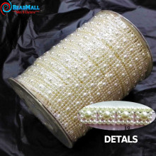 9mm 25m/roll Rhinestone Sewing Trim Flat Back Plastic ABS Pearl Beads String Beads White Ivory Crystal Chain For Wedding Dress(China)