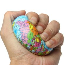 1 PC Hot Stress Relief Squeeze Soft Foam Venting Ball World Map Earth Globe Hand Wrist Exercise Geograpy Learning Gift