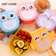 XMT-HOME 4pcs owl box lunch container bento owl container dinnerware children's portable plastic storage cereal boxes(China)