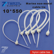 100pcs 10mm*550mm Nylon cable ties stainless steel plate locked for boat vessel with Marine non-metal tie(China)