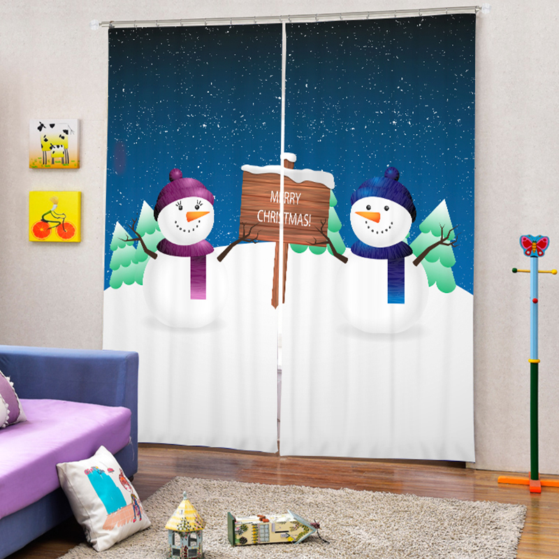 Customizable Christmas Curtains For Kids Room Cute Santa Claus 3D Printed  Thicken Polyester Kitchen Curtains For Living Room | My Sweet Home