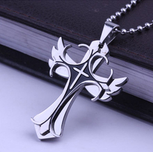 Angel wing Stainless Titanium Steel Crucifix Men Gift Items Cross Pendant Necklace Fashion Men Jewelry 2016