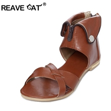 REAVE CAT Big Size 33-43 Brand  Rome Women sandals Sexy Elegant Fashion Sequined Cover Heel Beige  Brown White shoes Zipper