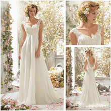 New Style White Ivory Chiffon Wedding Backless Lace Dress Bridal Gown