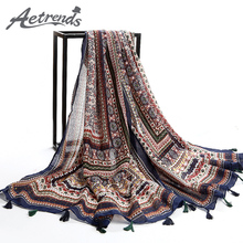 [AETRENDS] Twill Cotton Feel Bohemia Thailand Style Pashmina with Tassels Shawl Cape Women Scarf Z-2331()