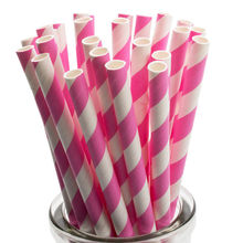 Paper Straws in Hot Pink White Stripes Set of 25 Valentines Cute Unique Pretty Wedding Birthday Party Shower Accessories Decor