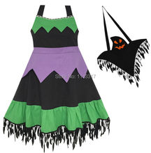 Sunny Fashion Girls Dress Halloween Witch Costume Ghost Bag Black Green Cotton 2017 Summer Princess Wedding Party Size 5-12
