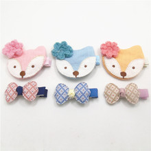 9sets/lot Cartoon Fox Kid Hair Clip Crochet Wool Flower Animal Barrettes with Floral Print Bow Woodland Party Girls Hair Grips(China)