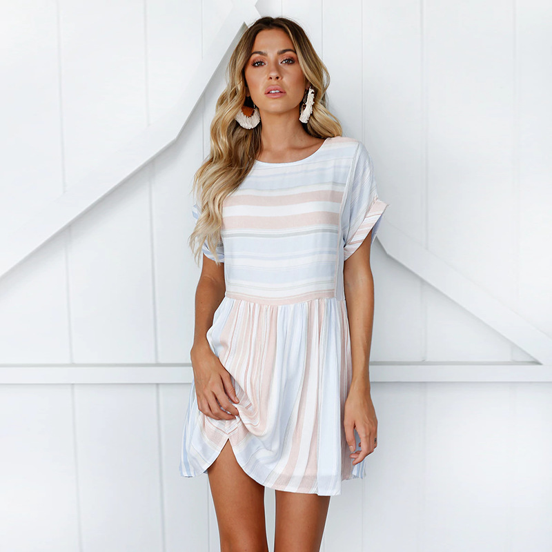 Lossky Summer Dress Women's 2018 Casual Sexy Striped Slim Wild Striped Round O-Neck Dress Mini short-sleeved women's Dress Losse 4