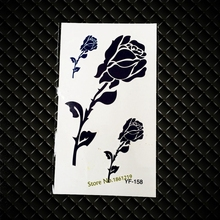 Black Blue Flash Temporary Tattoo Sticker GYF158 Rose Branches Leaves Design Sexy Women Lady Nightclubs Party Body Makeup Tattoo