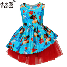 2-7yrs Girls Dress Moana Summer Blue Dresses Girl Lace Sleeveness Tutu Princess Costume Girls Costume Party Dresses Kids Clothes