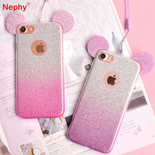 Buy Nephy Minnie Mickey Ears Silicone Glitter Gradient Case iPhone 5 5S SE 6 6S 7 Plus 6SPlus 6Plus Cover Bling Phone Coque Capa for $1.32 in AliExpress store