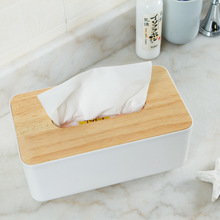 DUOLVQI Plastic Tissue Box Dispenser With Oak Wooden Cover Paper Household Car Napkins Holder Home Organizer Decoration(China)