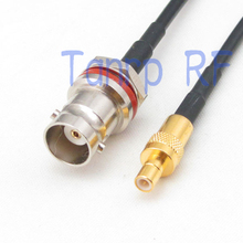 6in mini BNC female with nut bulkhead to SMB plug male RF connector adapter 15CM Pigtail coaxial jumper RG174 extension cable(China)